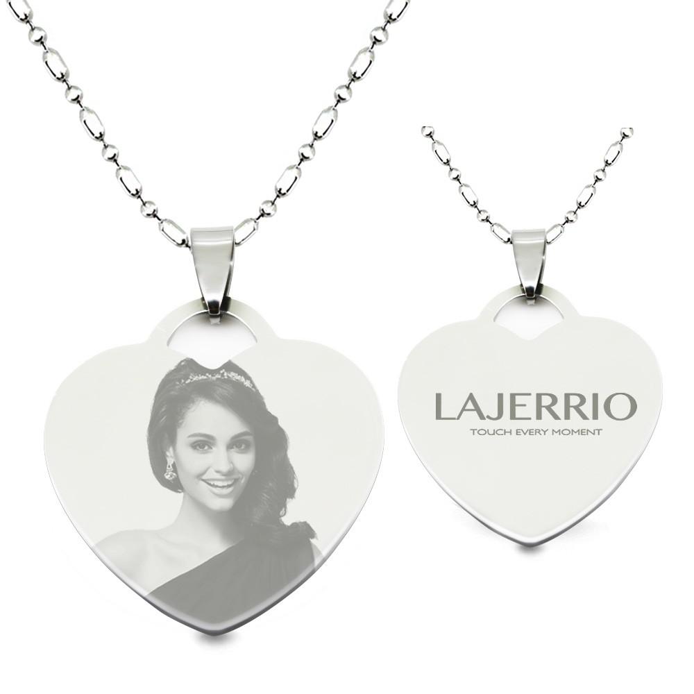 Titanium Steel Personalized Photo Engraved Heart Shape Pendant Necklace