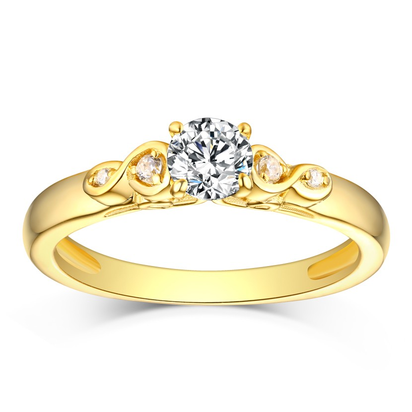 Round Cut White Sapphire Gold S925 Silver Infinity Rings