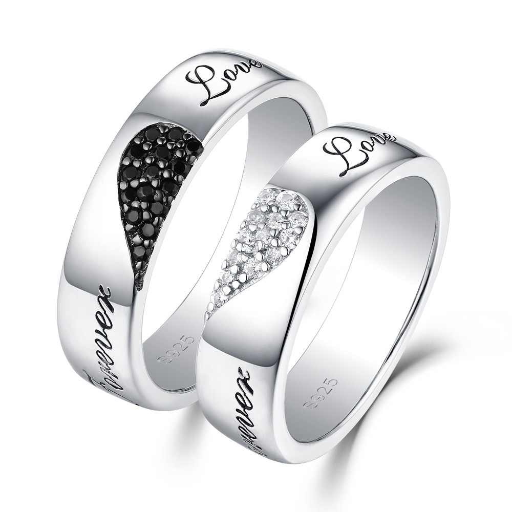 """""""Forever Love"""" Hearts Together White and Black Sapphire s925 Silver Couple Rings"""
