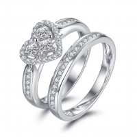 Heart Cut White Sapphire 925 Sterling Silver Bridal Sets