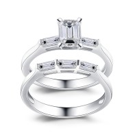 Emerald Cut White Sapphire 925 Sterling Silver Bridal Sets