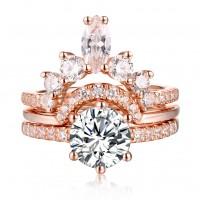 Round Cut S925 Silver White Sapphire Rose Gold Art Deco 3 Piece Sets