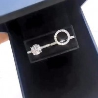 Round Cut White Sapphire 925 Sterling Silver Halo Insert Ring Sets
