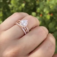 Pear Cut White Sapphire Rose Gold 925 Sterling Silver 3-Piece Halo Bridal Sets