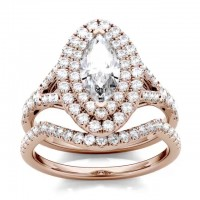 Marquise Cut White Sapphire Rose Gold 925 Sterling Silver Halo Bridal Sets
