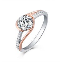 Round Cut 925 Sterling Silver Rose Gold White Sapphire Engagement Rings