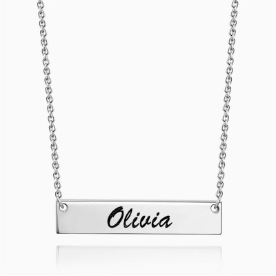 Personalized Engravable Silver Bar Necklace