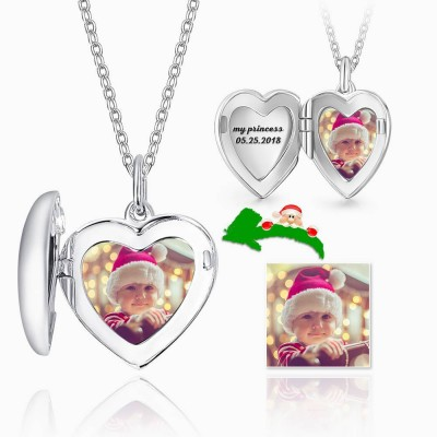 Design Your Own - Heart Personalized Photo Locket Silver Necklace