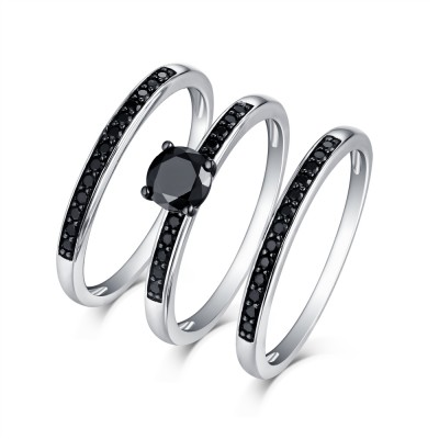 Round Cut 925 Sterling Silver Black Sapphire 3 Piece Ring Sets