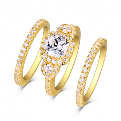 Princess Cut White Sapphire Gold S925 Silver Halo 3 Piece Ring Sets
