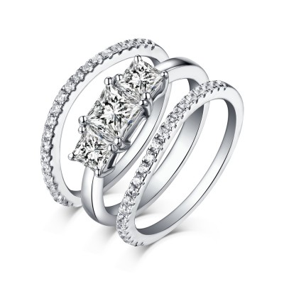 Princess Cut White Sapphire 925 Sterling Silver 3 Piece Ring Sets