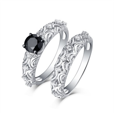 Round Cut S925 Silver Black Sapphire Art Deco Ring Sets