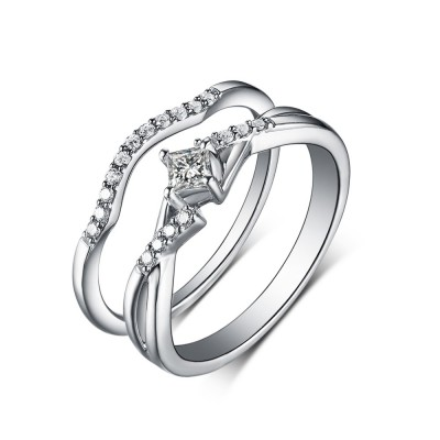 Princess Cut White Sapphire 925 Sterling Silver Wedding Sets