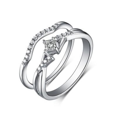 Princess Cut White Sapphire 925 Sterling Silver Wedding Sets