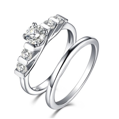 Round Cut White Sapphire 925 Sterling Silver Art Deco Ring Sets