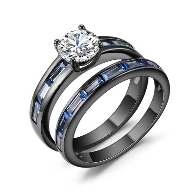 Round Cut White Sapphire Black 925 Silver Bridal Sets