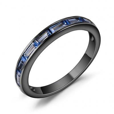 Emerald Cut Blue Sapphire Black Sterling Silver Wedding Bands