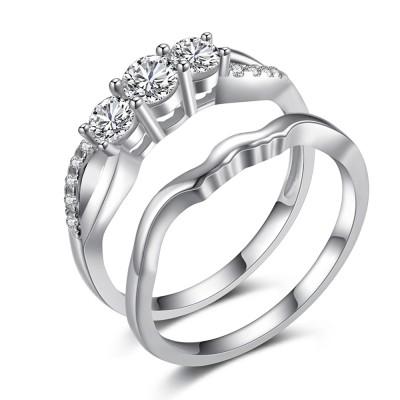 Round Cut 1/4CT Gemstone Sterling Silver Bridal Sets
