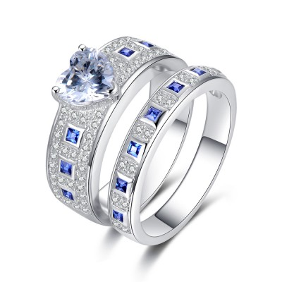 Classic Heart Cut Blue Sapphire Sterling Silver Bridal Sets