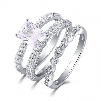 Emerald Cut White Sapphire Sterling Silver Womens Ring Sets