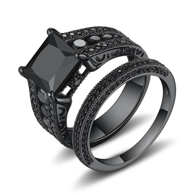 Black Princess Cut Black 925 Sterling Silver Bridal Sets
