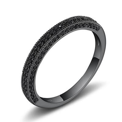 Round Cut Black Sapphire Black Sterling Silver Wedding Bands