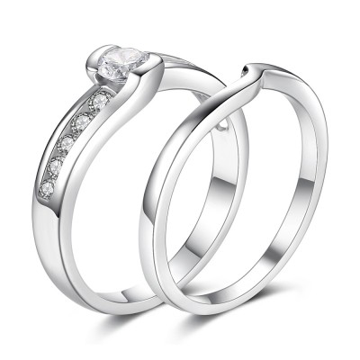 Elegant Round Cut White Sapphire Sterling Silver Bridal Sets