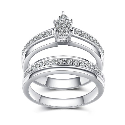 Unique Design White Sapphire 925 Sterling Silver Bridal Sets