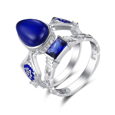 Fashion Pear Cut Sapphire 925 Sterling Silver Bridal Sets