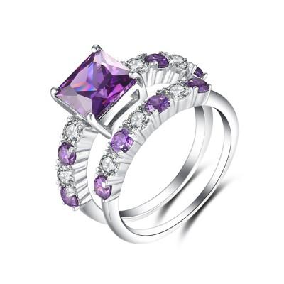 Radiant Cut Amethyst 925 Sterling Silver Bridal Sets
