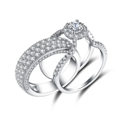 Luxurious Round Cut White Sapphire Sterling Silver Bridal Sets