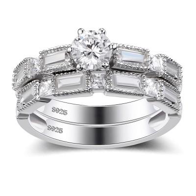 Round Cut White Sapphire Sterling Silver Women's Wedding Ring Set