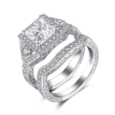 Princess Cut White Sapphire 925 Sterling Silver Women's Ring Set