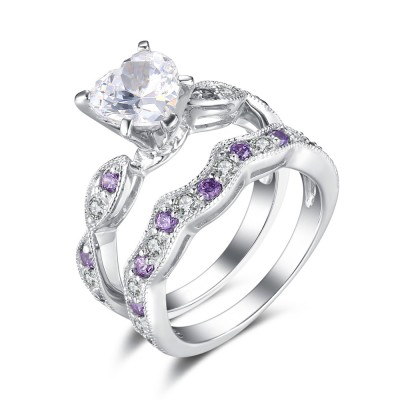 Heart Cut White and Amethyst Sapphire Sterling Silver Bridal Sets