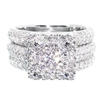 Round Cut Halo 3 Piece White Sapphire 925 Sterling Silver Bridal Set
