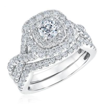 Round Cut Halo Vintage White Sapphire 925 Sterling Silver Bridal Set