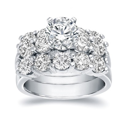Round Cut White Sapphire Sterling Silver 3-Piece Bridal Sets