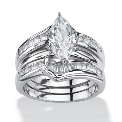 Marquise Cut White Sapphire Sterling Silver 3-Piece Bridal Sets