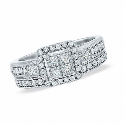 Princess Cut White Sapphire 925 Sterling Silver Halo 3-Stones Bridal Sets