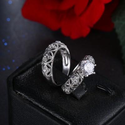 Round Cut Whate Sapphire Unique Bridal Sets