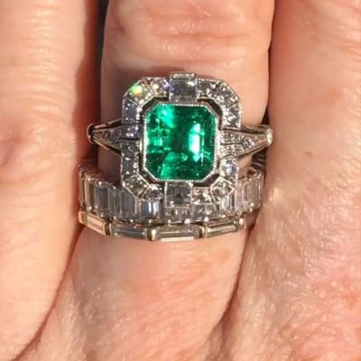 Asscher Cut Emerald Halo 3-Piece 925 Sterling Silver Bridal Sets