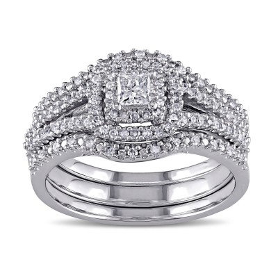 Princess Cut White Sapphire Sterling Silver Double Halo 3-Piece Bridal Sets