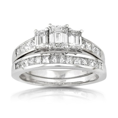 Emerald Cut White Sapphire Sterling Silver 3-Stone Bridal Sets