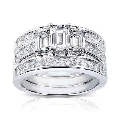 Emerald Cut White Sapphire Sterling Silver 3-Stone 3-Piece Bridal Sets
