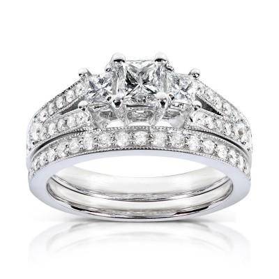 Princess Cut White Sapphire Sterling Silver 3-Stone Bridal Sets