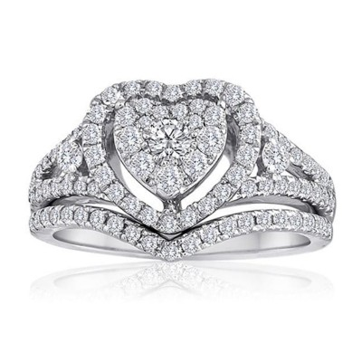 Round Cut White Sapphire Heart Sterling Silver Halo Bridal Sets