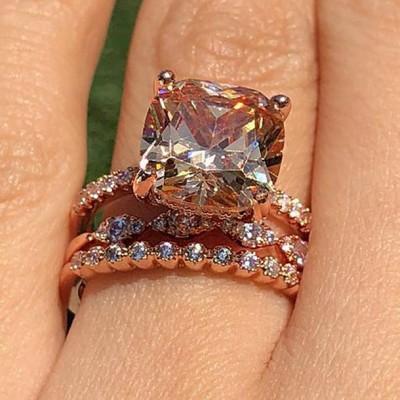 Cushion Cut Orange Sapphire Rose Gold 925 Sterling Silver 3-Piece Bridal Sets