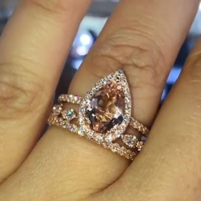 Pear Cut Rose Gold 925 Sterling Silver Halo 3-Piece Bridal Sets