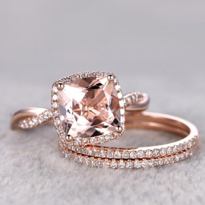 Cushion Cut Champagne Sapphire Rose Gold 925 Sterling Silver 3-Piece Bridal Sets