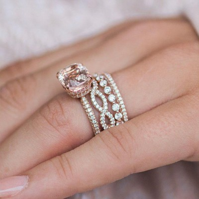 Cushion Cut Champagne Sapphire Rose Gold 925 Sterling Silver Bridal Sets